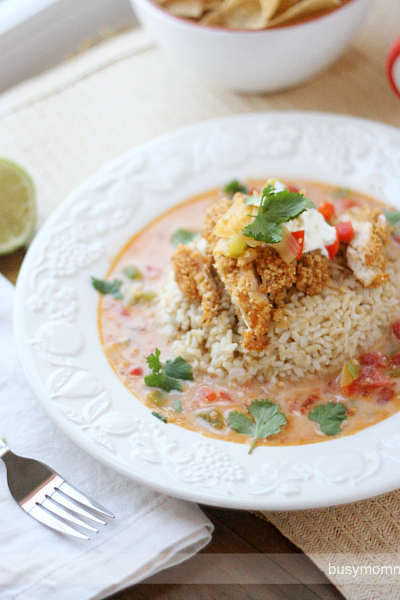 Baked Tortilla Chicken Over Brown Rice and Cheesy Broth