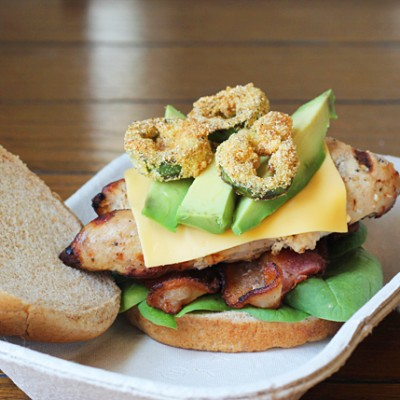 Spicy Grilled Chicken Club with Honey-Sriracha Mayonnaise