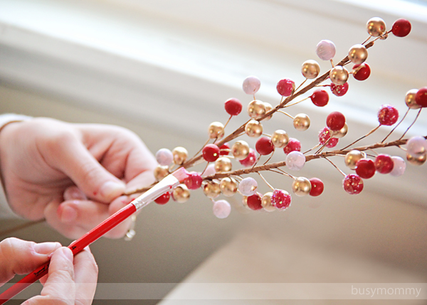Painting Berries for Wreath