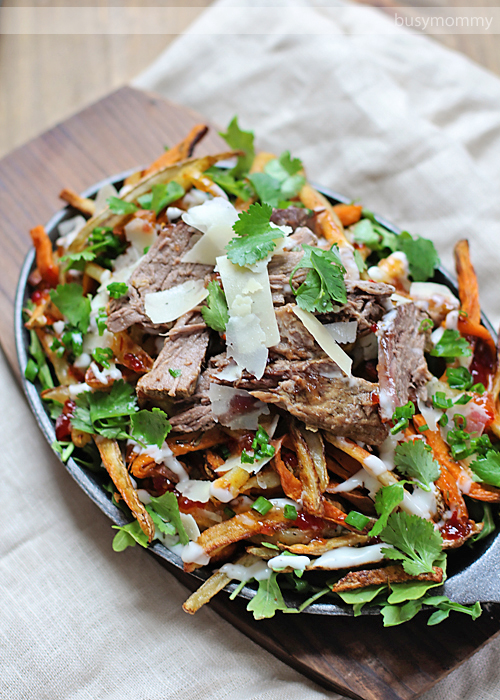 Loaded Rosemary Fries with Beer Braised Beef