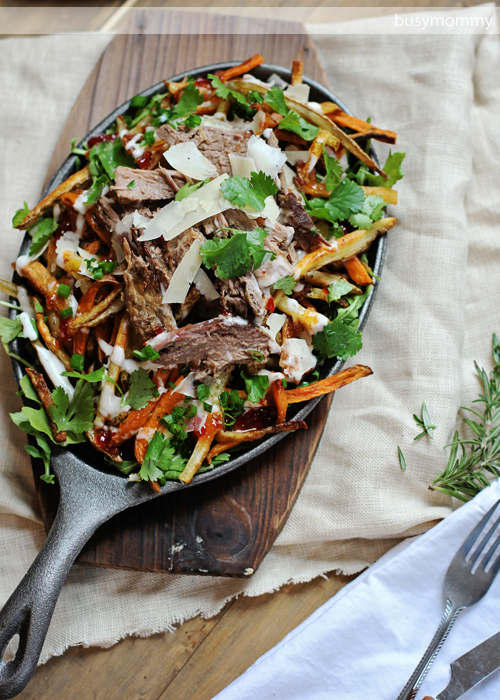 Loaded Rosemary Fries with Beer Braised Beef- perfect for game day!!