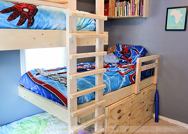 Triple Bunk Bed with Storage and Bookshelves