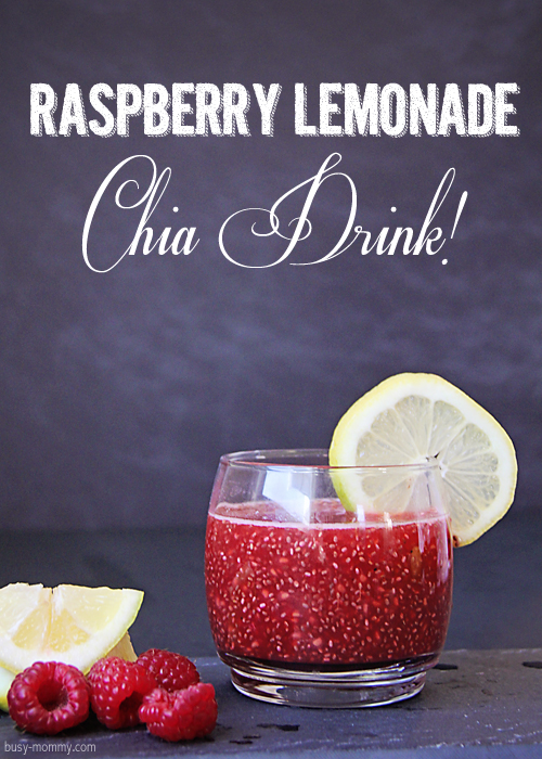 Homemade Raspberry Lemonade Chia Drink. Super easy and healthy!