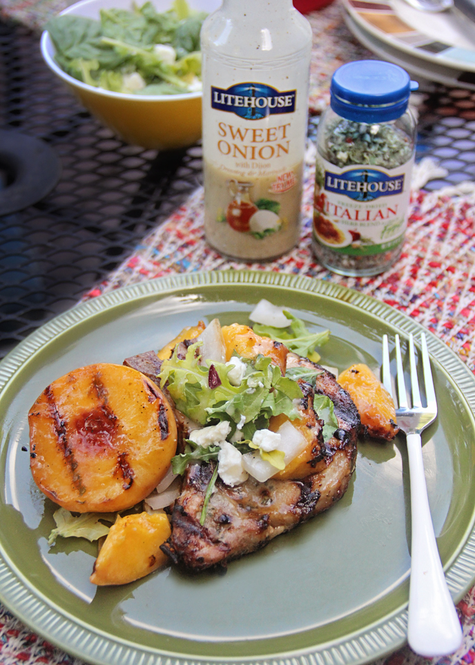 Sweet Onion Grilled Pork Chops and Peaches