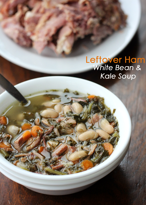 Leftover Ham, White Bean and Kale Soup in the slow cooker. The perfect way to use that leftover ham this Easter!