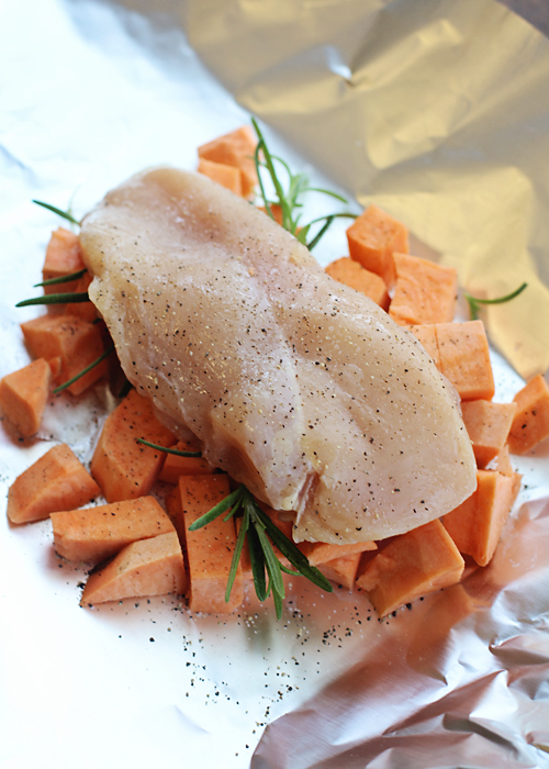 Chicken and Sweet Potato packets. So much flavor and quick to throw together.
