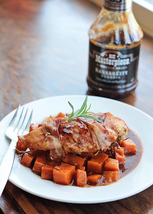 Honey BBQ, Chicken, Bacon and Sweet Potato packets. Throw it together in 10 minutes!