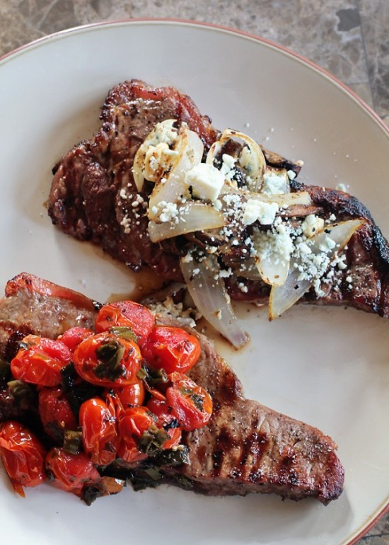 Steak Toppings: Grilled Balsamic and Basil Cherry Tomatoes and a Portabella, Onion and Blue Cheese.