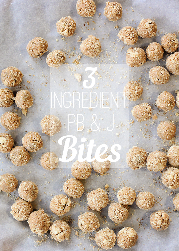 3 Ingredient PB and J Bites! Great for kids and lunch boxes