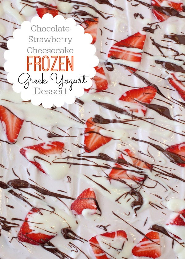 Chocolate Strawberry Cheesecake Frozen Greek Yogurt. A layer of strawberry Greek yogurt, topped with sliced strawberries, a drizzle of cheesecake dip and melted chocolate and then frozen for a healthier dessert or snack!