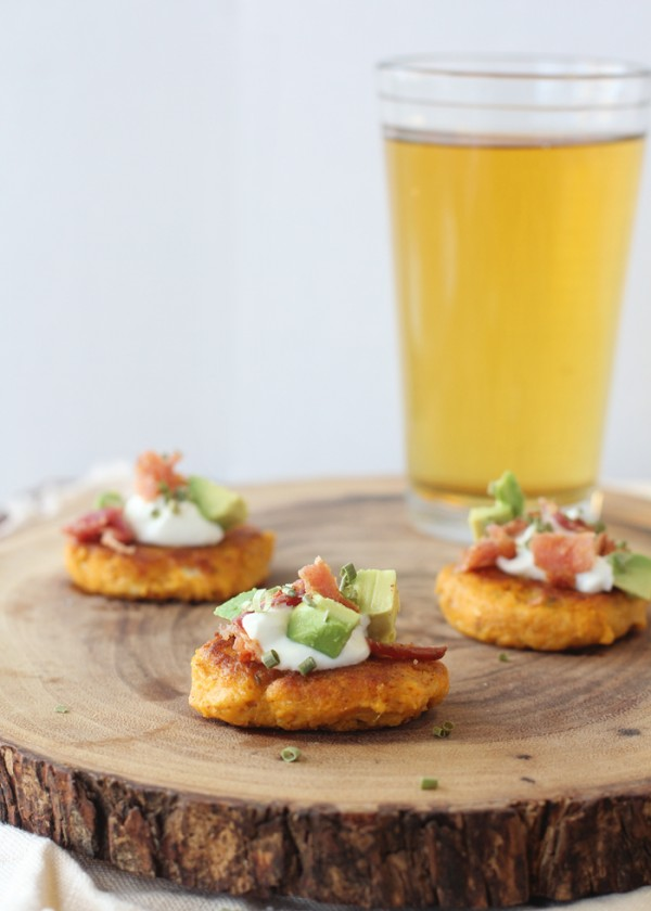 Spicy Sweet Potato Cakes with Feta, Bacon and Avocado