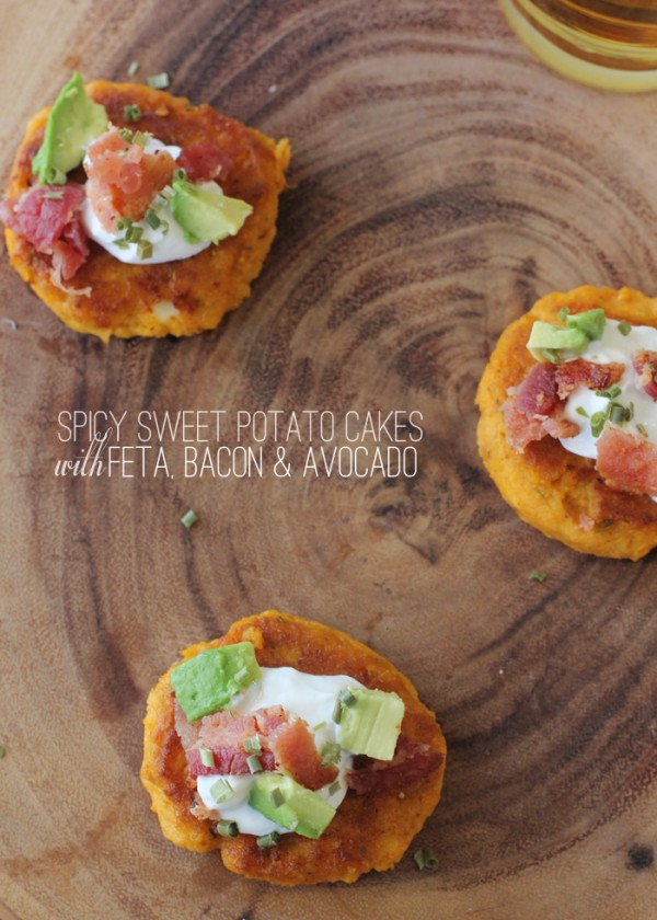 Spicy Sweet Potato Cakes with Feta, Bacon and Avocado. (So delicious!)