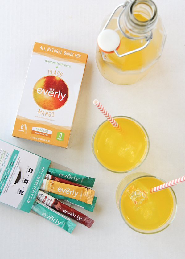 Everly drink packets. These are all natural and 0 calorie and come in peach mango, pomegranate maqui berry and green tea passion fruit. For every box sold they provide a packet of life-saving oral rehydration salts to treat children sick with waterborne diseases!