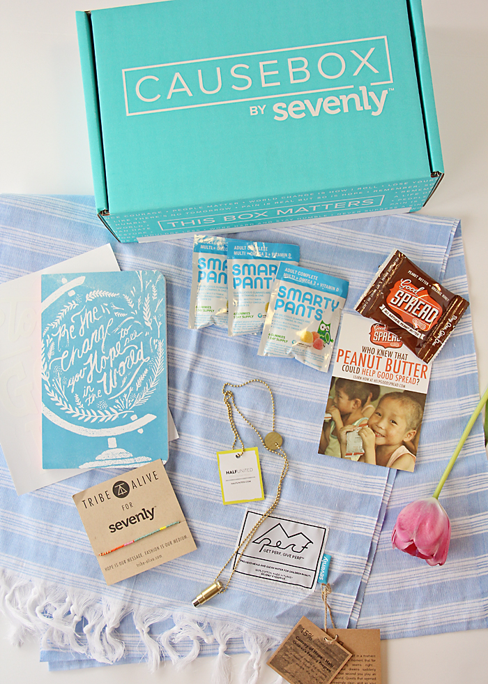 Sevenly Causebox. This is the Spring Box. Every item contributes to world change.  Also, when you purchase a box, $7 goes to charity.