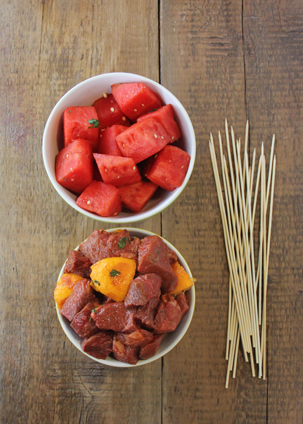 Steak and Fruit Kabobs