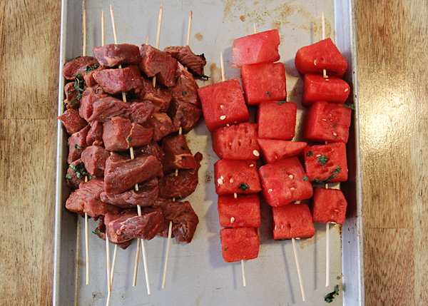 Citrus Marinated Steak and Fruit Kabobs