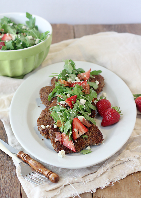 Baked Pecan Pork Chops with Strawberry, Bacon, Arugula and Goat Cheese