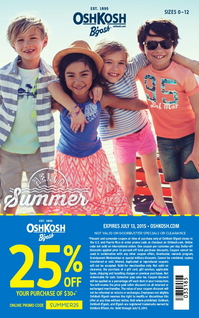 OshKosh B'Gosh Summer 2015 printable coupon