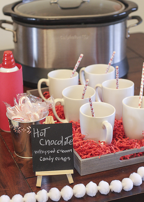 Quick hot chocolate bar for family movie night!