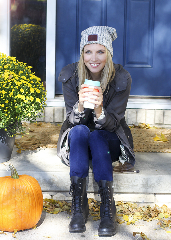I love fall style. Gray beanie, army green jacket and boots!