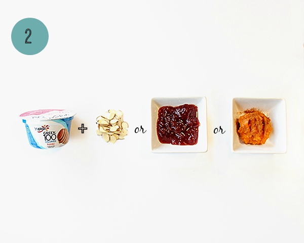 One way to 1-up your yogurt cup: almonds, strawberry preserves or pumpkin puree