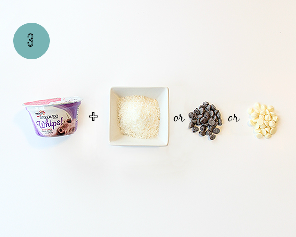 One way to 1-up your yogurt cup: shredded coconut, chocolate chips or white chocolate chips