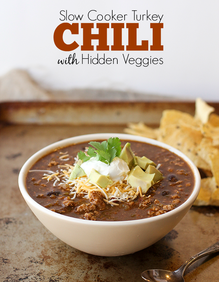 Slow Cooker Turkey Chili with Hidden Veggies. My kids love this!