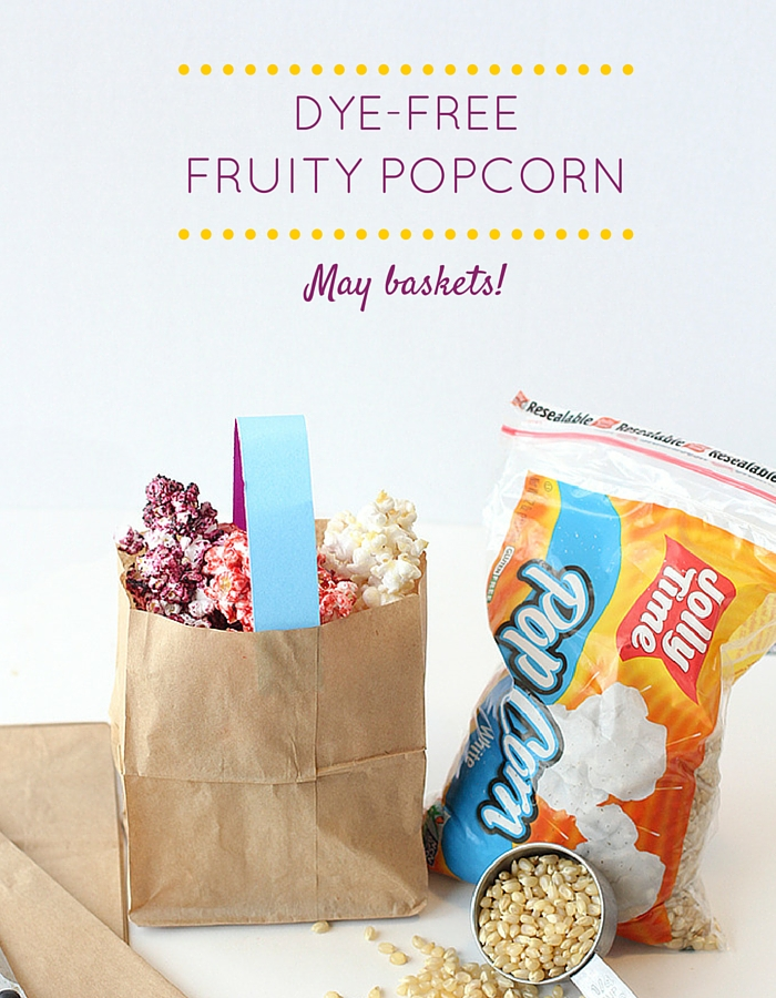 Dye-Free Fruity popcorn to use in may baskets.