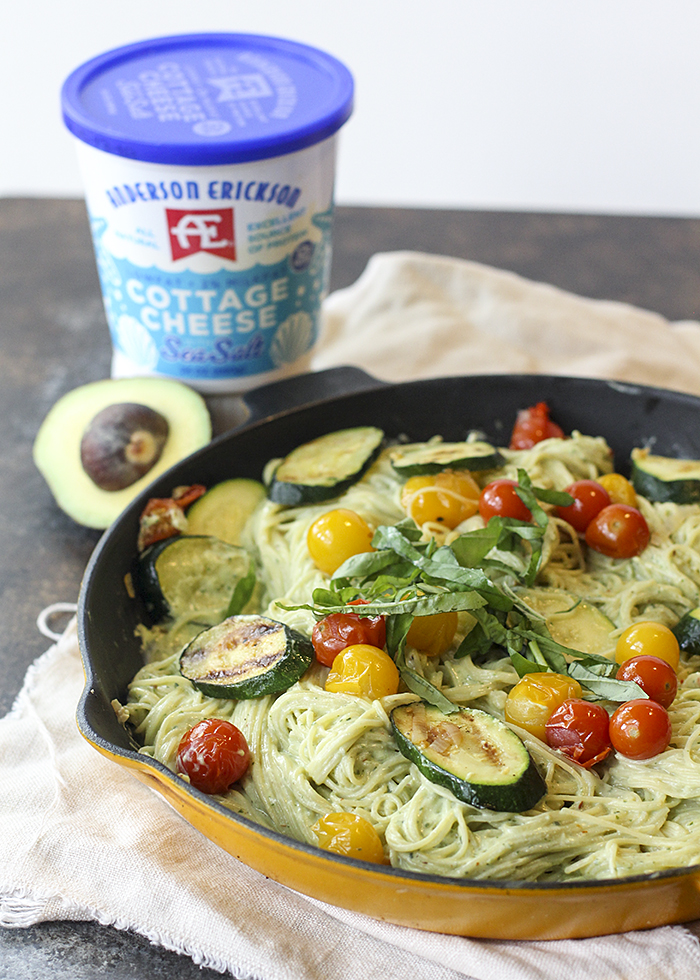 Creamy Avocado Pasta (with a special ingredient!) and veggies.