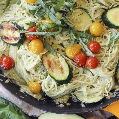 Creamy (but Light!) Avocado Pasta with Veggies