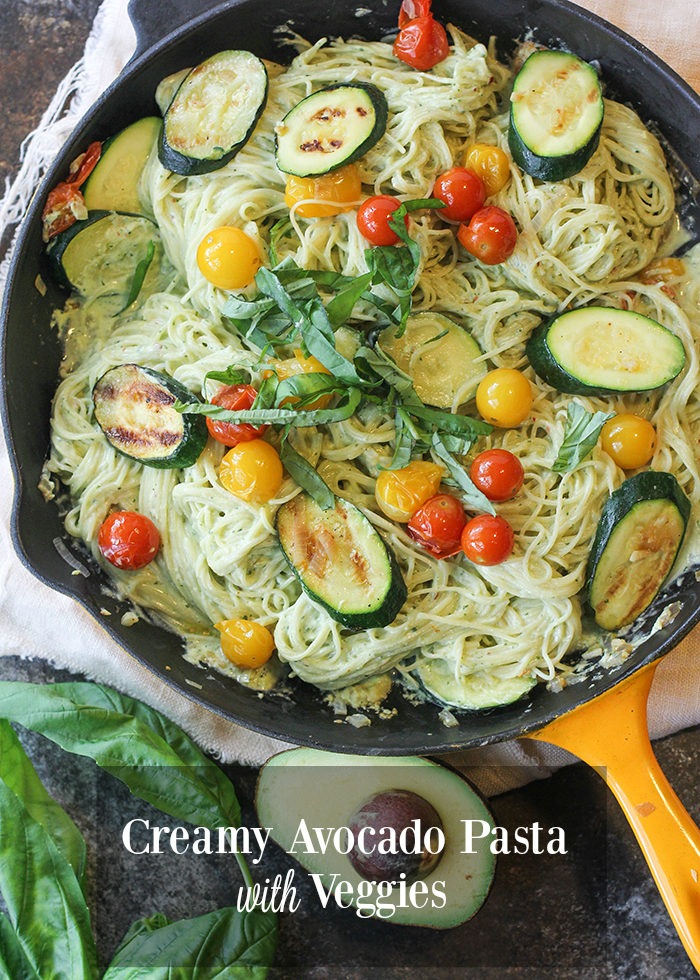 Creamy Avocado Pasta with Veggies (but the creaminess comes from a secret ingredient!)