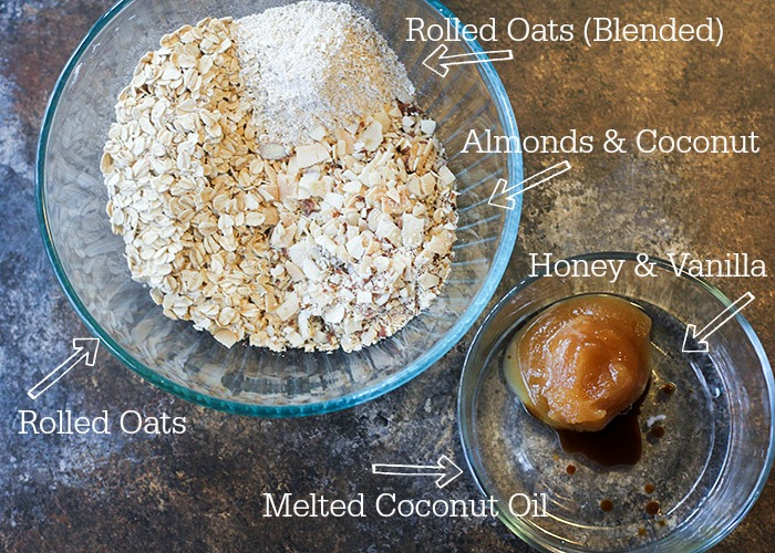 All of the ingredients you need for yummy homemade granola.