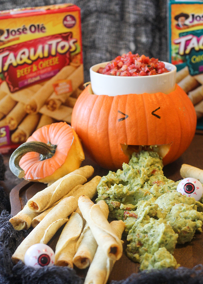 An easy halloween display to serve chips and dip or mexican food.