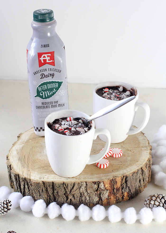 Make a minty mug brownie in the microwave!